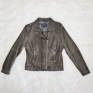 Montanaco Distressed Vegan Faux Leather Jacket S